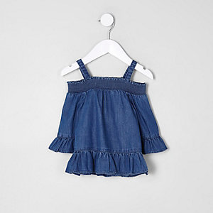 Mini girls blue denim frill cold shoulder top
