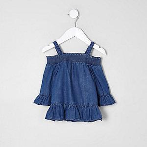 Mini - Blauwe denim schouderloze top met ruches voor meisjes