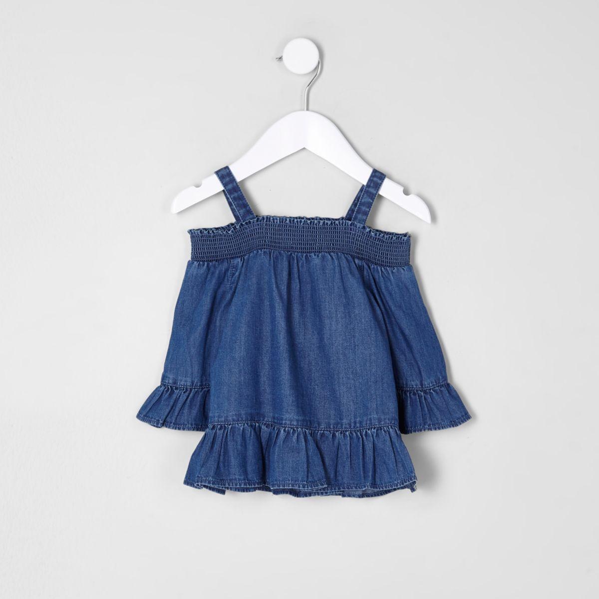 Mini girls blue denim frill cold shoulder top