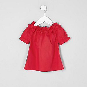 Mini girls red ruffle bardot top