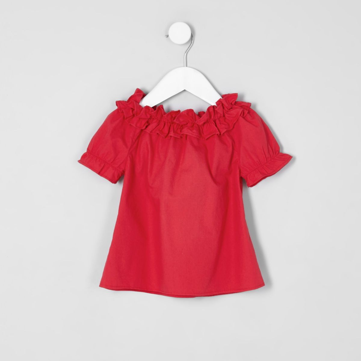 Mini girls red ruffle bardot top