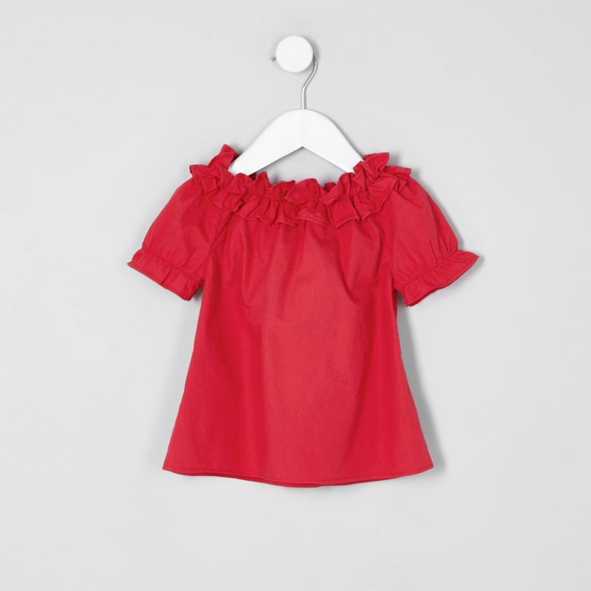 Top Bardot rouge à volants mini fille