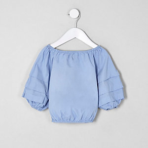 Mini girls blue balloon sleeve top