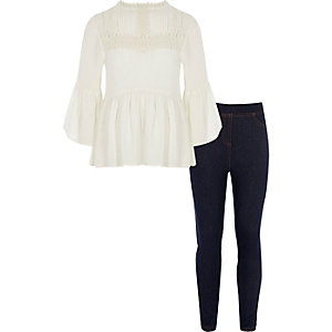 Girls white peplum top and leggings outfit