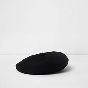 Mini - Zwarte vilten baret voor meisjes
