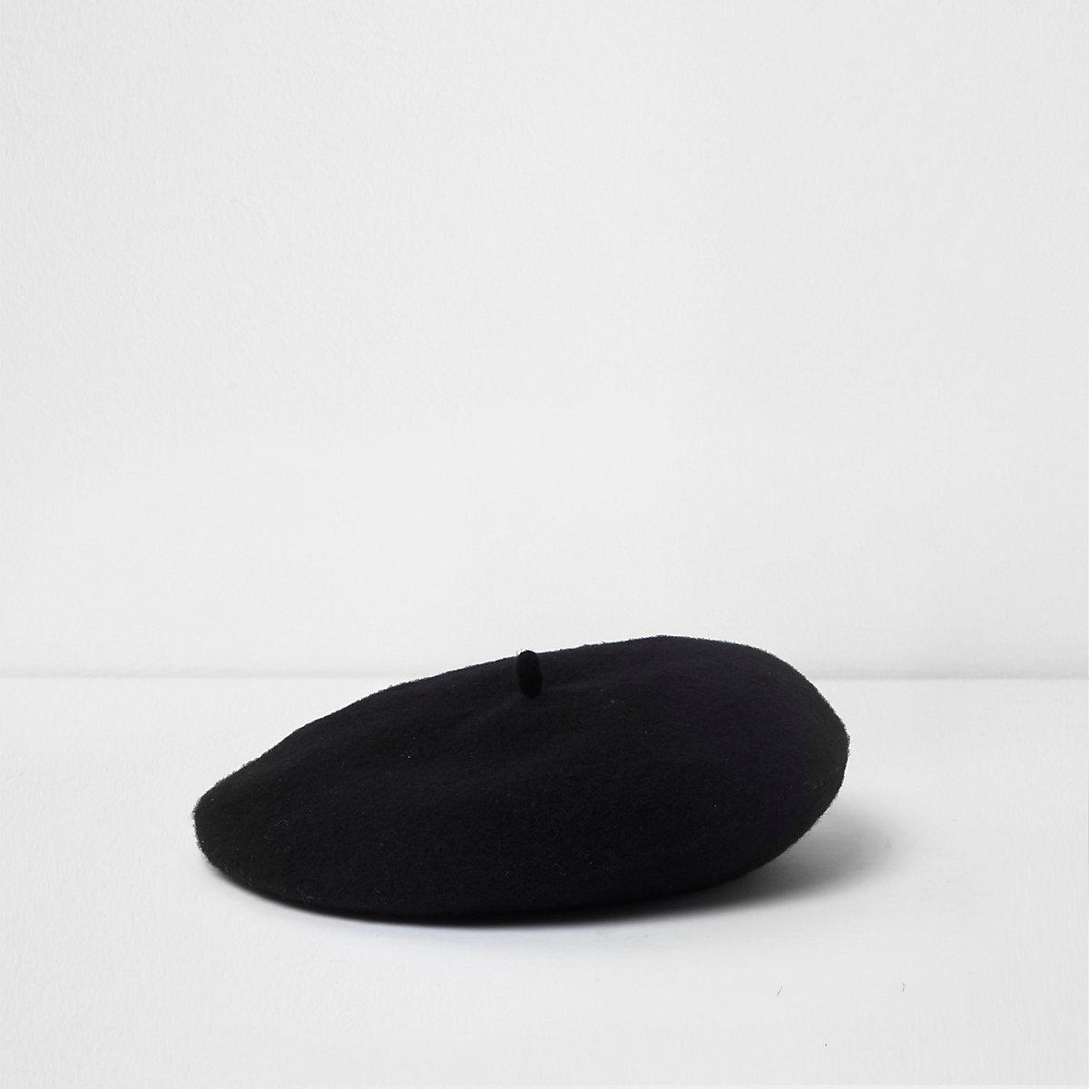 Mini girls black felt beret