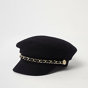 Mini girls black chain trim baker boy hat