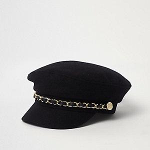 Casquette gavroche noire avec bordure chaîne mini fille