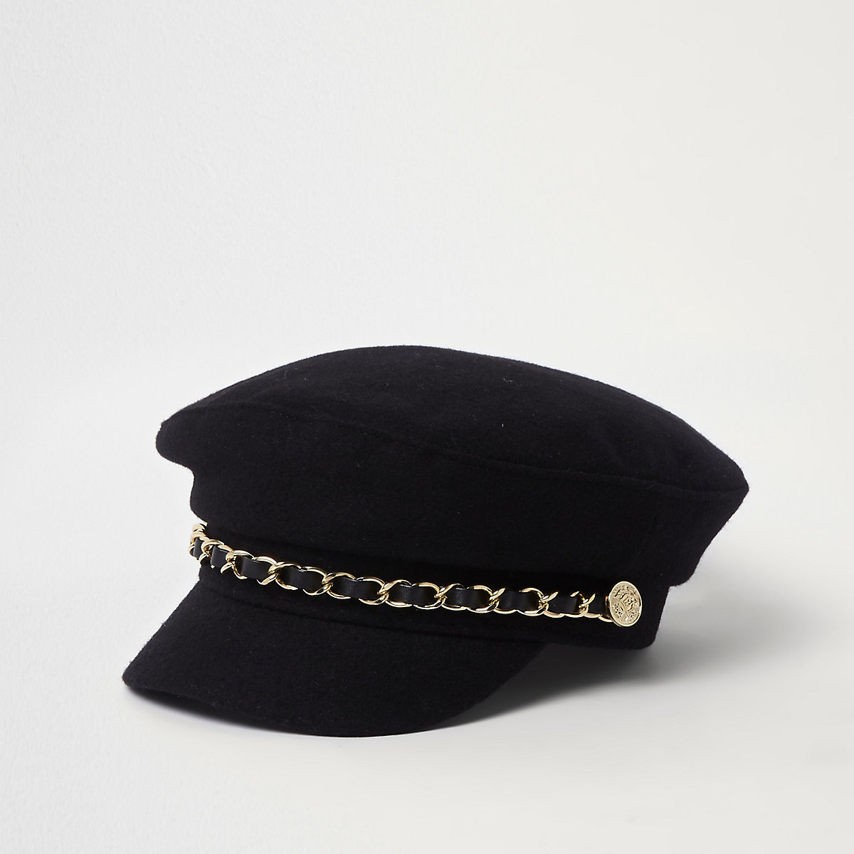 Mini girls black chain trim baker boy hat