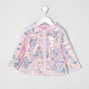 Mini - Roze iriserende regenjas met pailletten voor meisjes