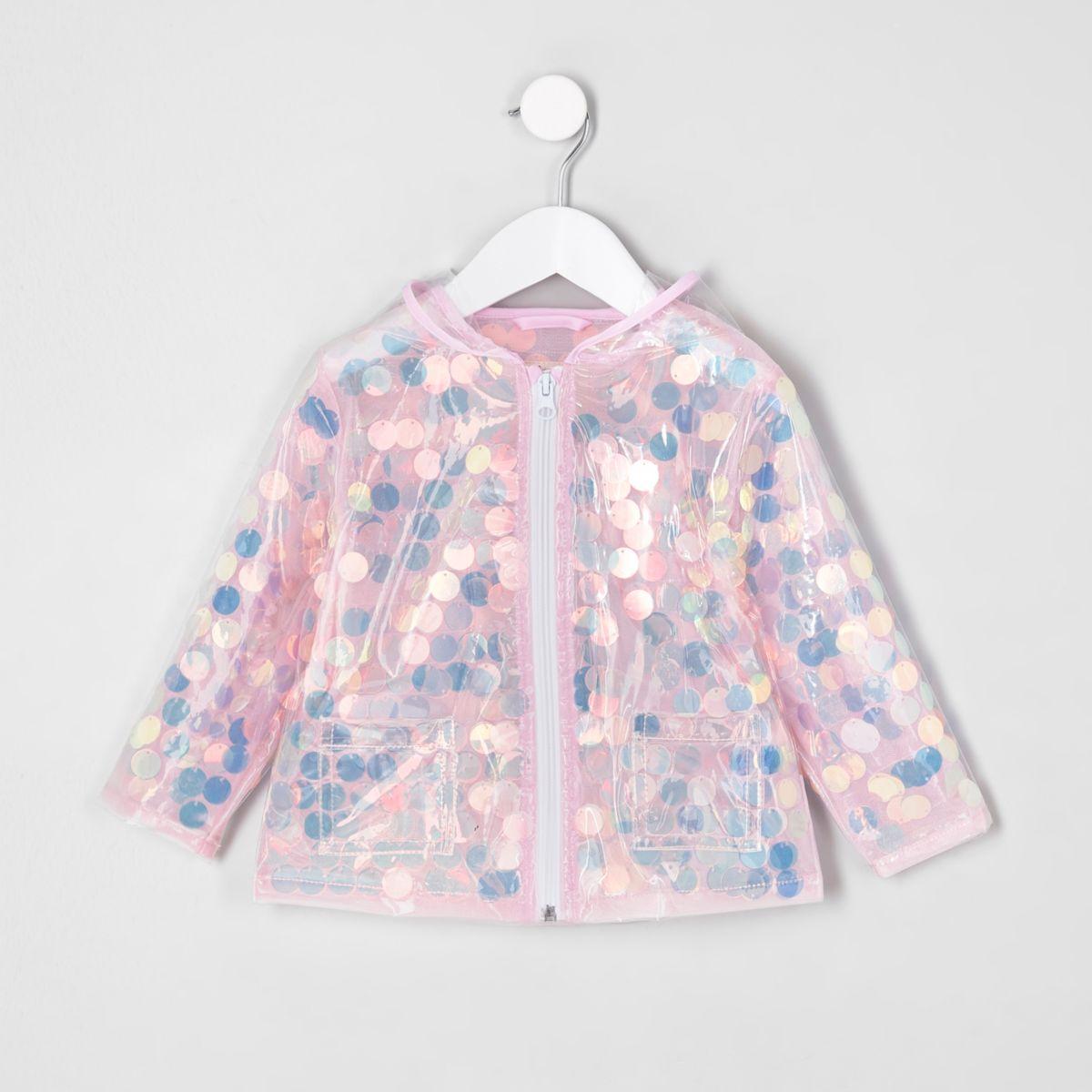 Mini girls pink iridescent sequin raincoat