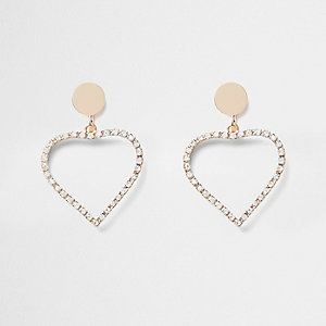 Girls gold rhinestone heart clip on earrings