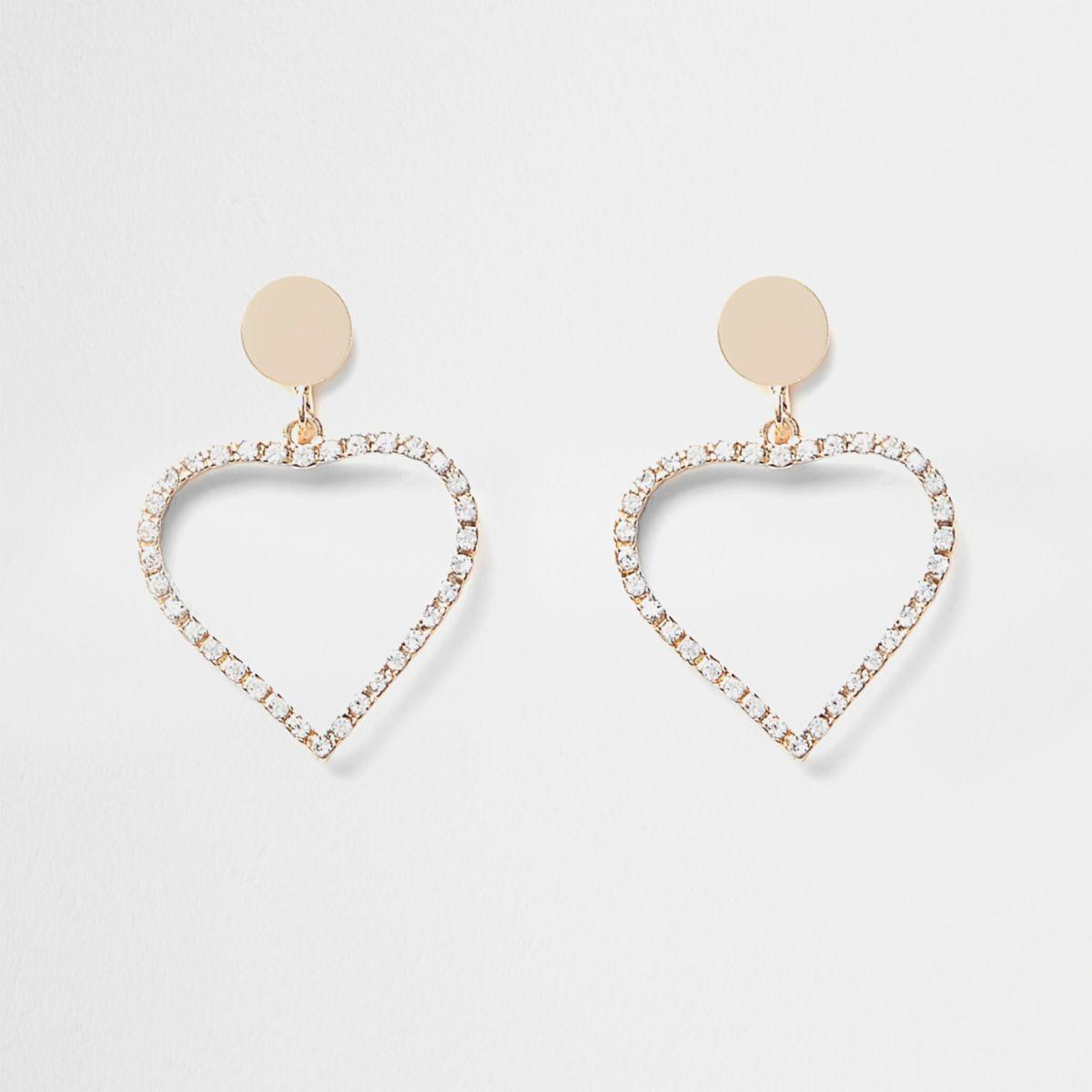 Girls gold rhinestone heart clip on earrings