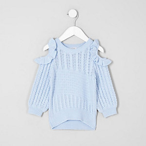 Mini girls light blue cold shoulder sweater