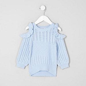 Mini - Lichtblauwe schouderloze pullover voor meisjes