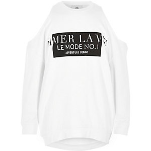 """Weißes Sweatshirt mit Schulterausschnitten """"la vie"""""""
