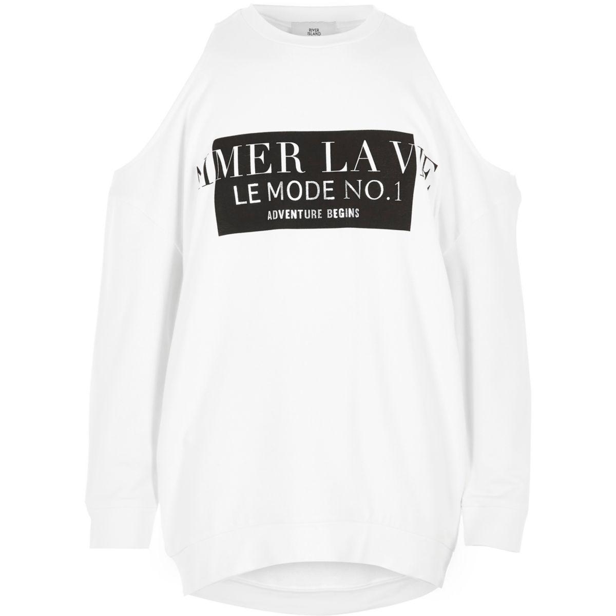 Girls white 'la vie' cold shoulder sweatshirt