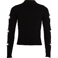 Girls black embellished slash sleeve jumper
