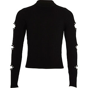 Girls black embellished slash sleeve sweater