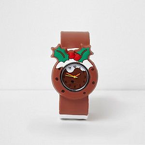 Kids brown Christmas pudding snap on watch
