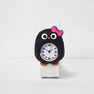 Girls white penguin snap on watch