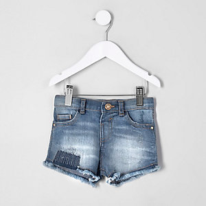 Short en denim déchiré bleu mini fille