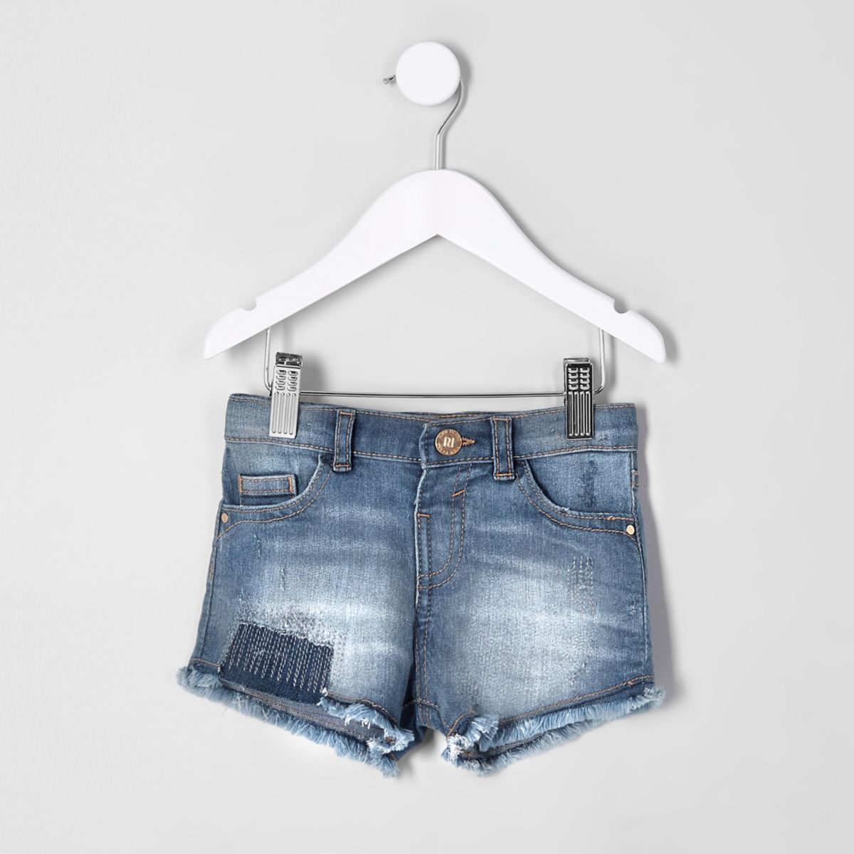 Mini girls blue ripped denim shorts