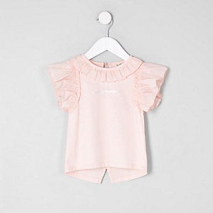 Mini girls light pink 'always amazing' top