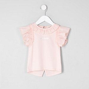 Mini girls light pink split back top