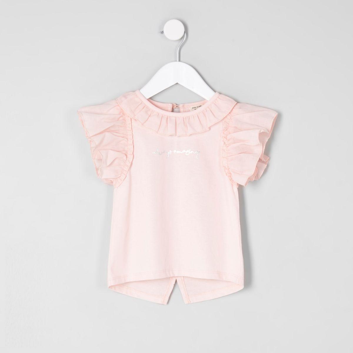 Mini girls light pink 'always amazing' top