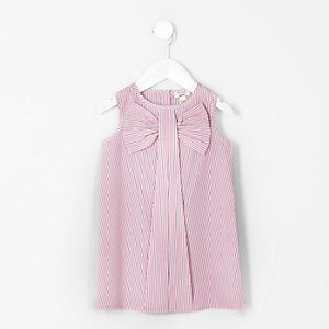 Mini girls pink stripe bow sleeveless dress