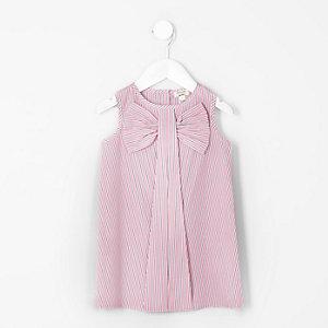 Mini - Gestreepte mouwloze jurk met strik voor meisjes