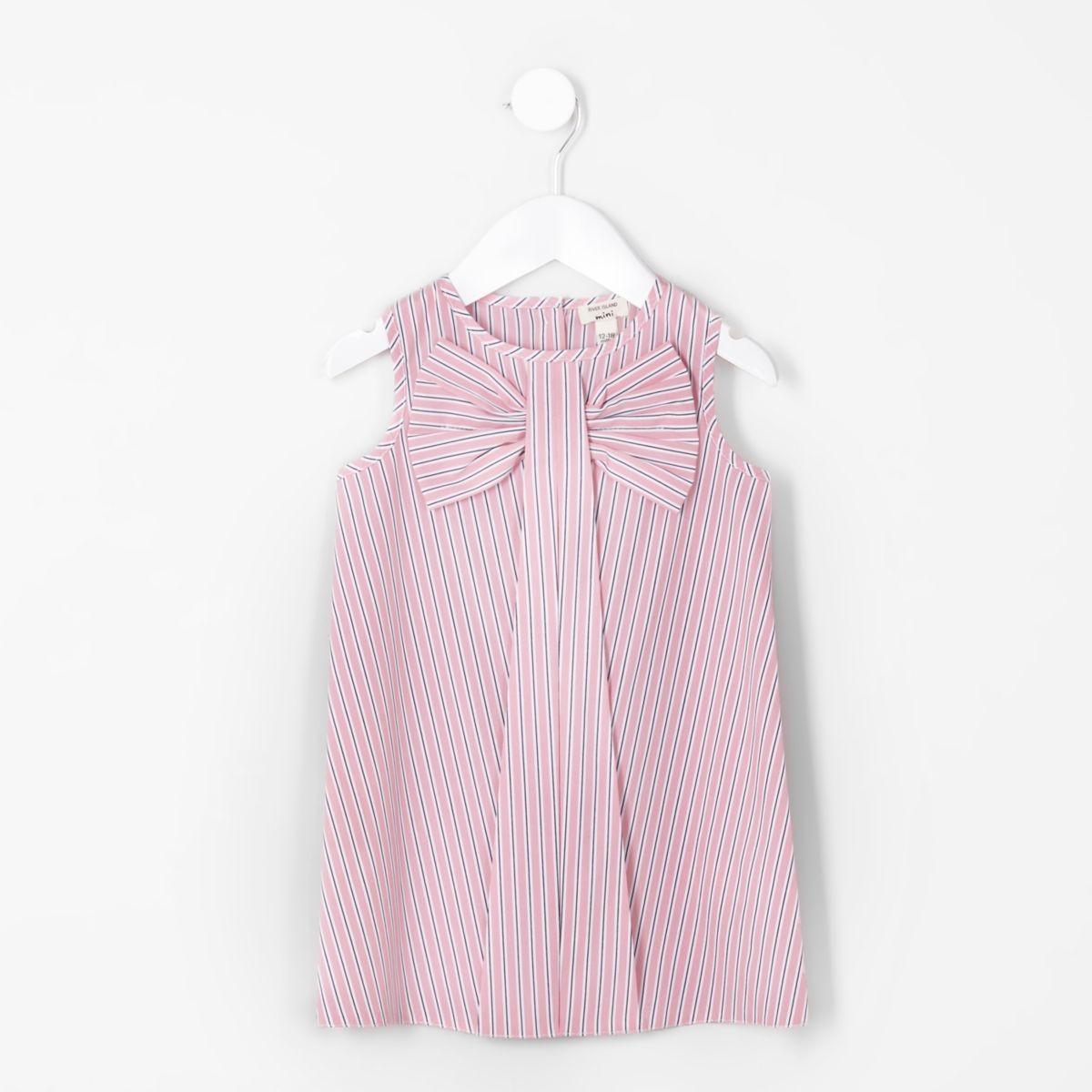 Mini girls pink stripe bow sleeveless dress
