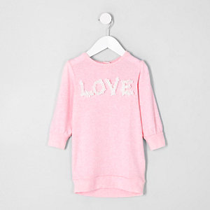Mini girls pink 'love' sweatshirt dress