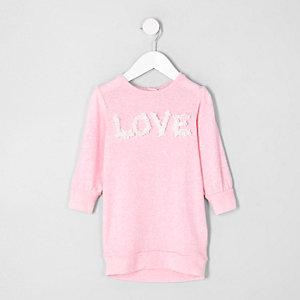 Mini - Roze sweatshirt-jurk met 'Love'-print voor meisjes