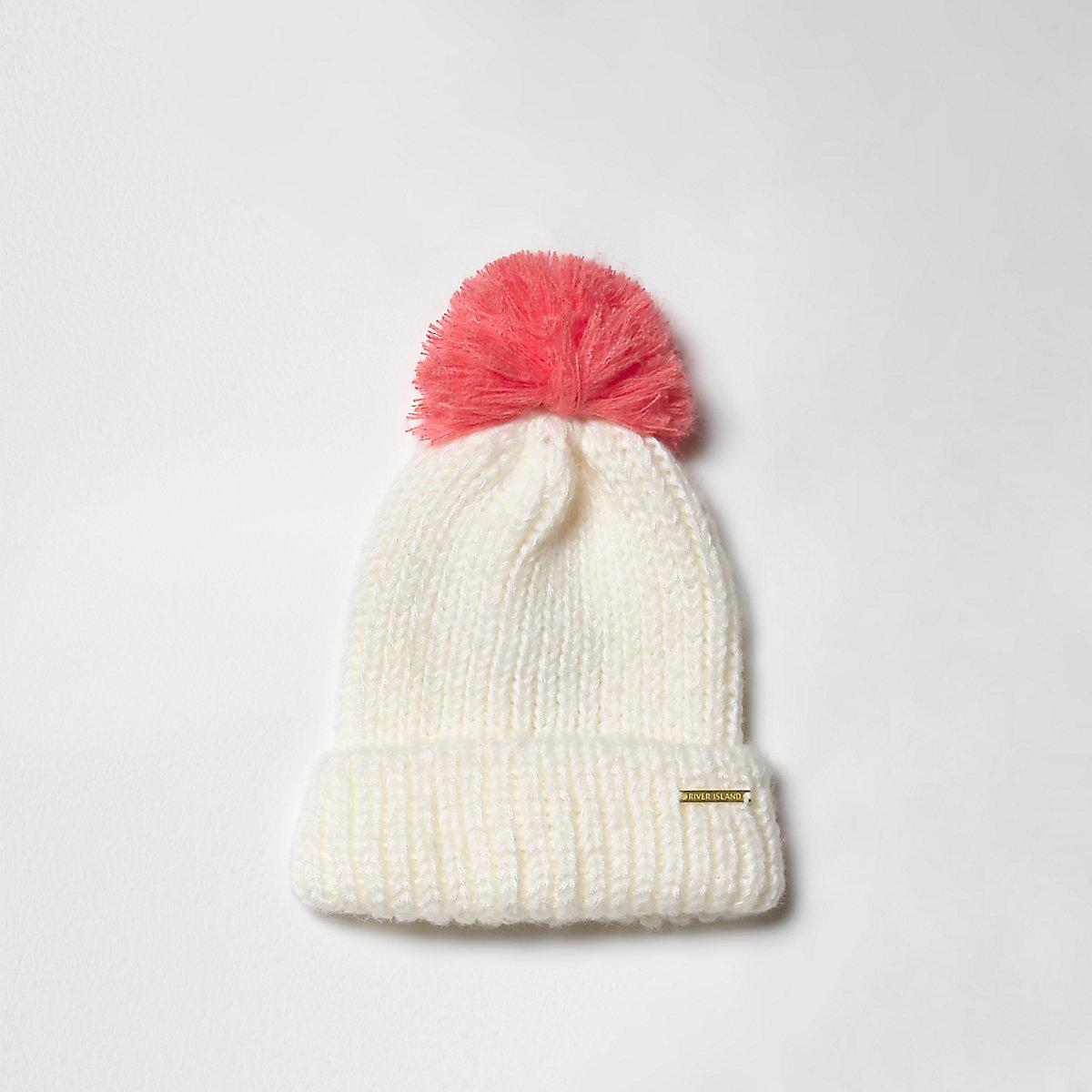 Girls cream bobble beanie hat
