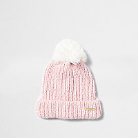 Girls pink bobble knit beanie hat