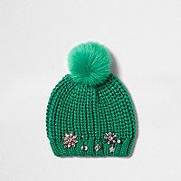 Girls green embellished bobble beanie hat