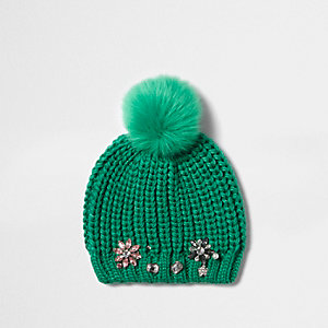 Girls green embellished bobble beanie hat