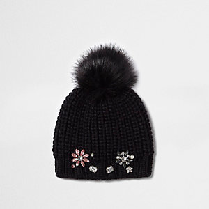 Girls black embellished bobble beanie hat