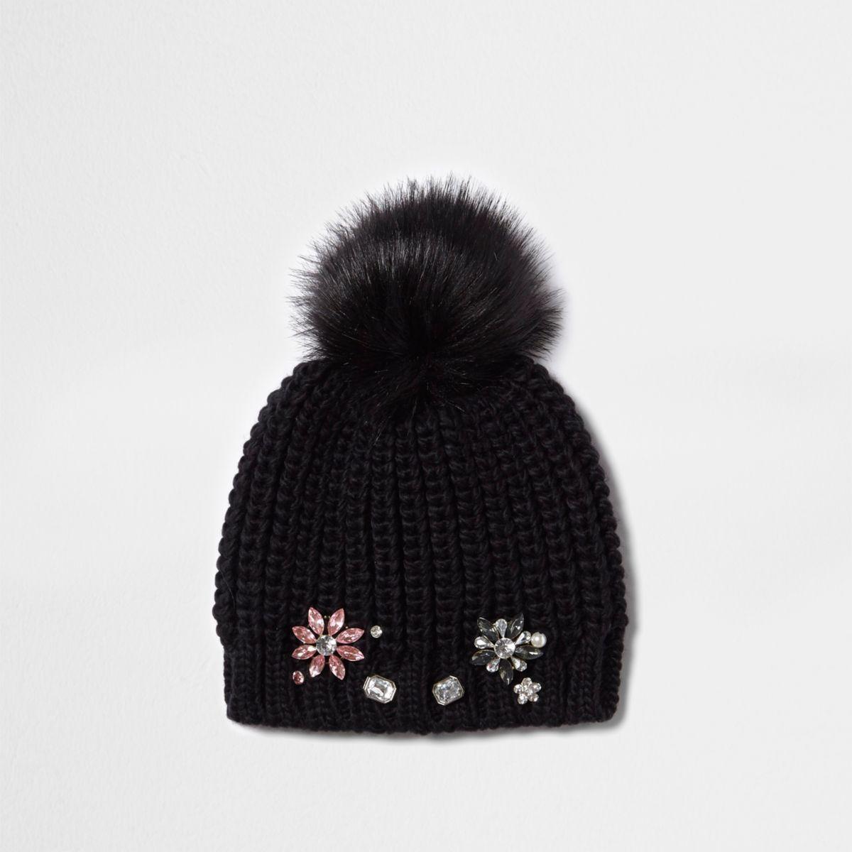 Girls black embellished bobble beanie hat