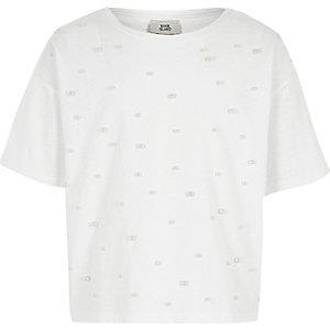 Weißes T-Shirt mit Kunstperlenverzierung