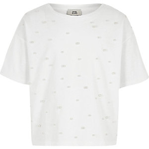 Girls white faux pearl embellished T-shirt