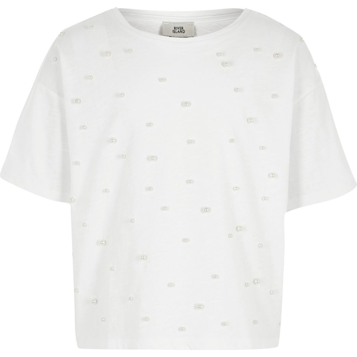 T-shirt blanche orné de fausses perles pour fille