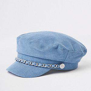 Blauwe bakerboy-pet met ketting langs de rand voor meisjes