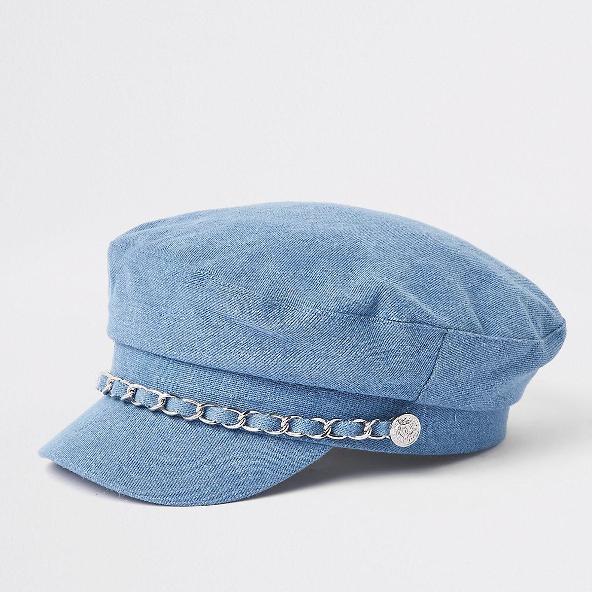 Girls blue denim chain trim baker boy hat
