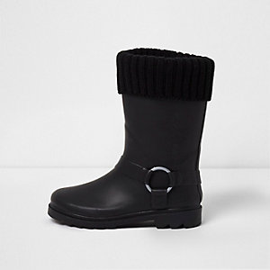 Girls black sock foldover rubber boots