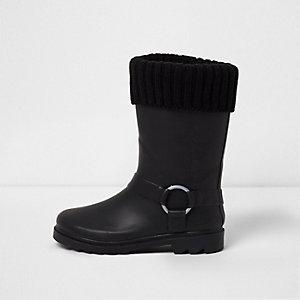 Bottes en caoutchouc noires avec bord en maille pour fille