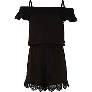 Girls black crochet cold shoulder playsuit