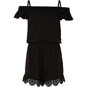 Girls black crochet cold shoulder playsuit